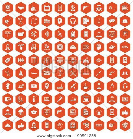 100 support center icons set in orange hexagon isolated vector illustration