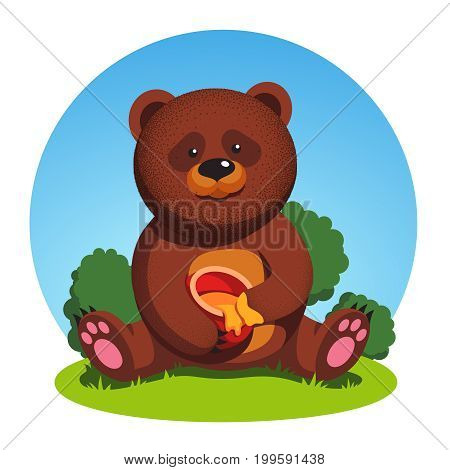 Big brown bear sitting on forest grass holding honey pot and eating with its paw hand. Cute hungry animal cub. Flat style vector illustration isolated on white background.