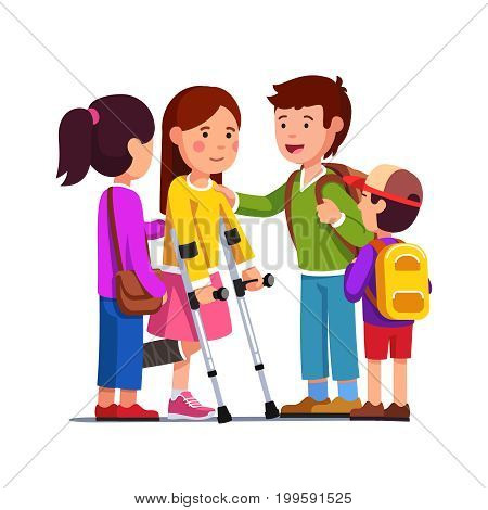 School friends girls, boys supporting teenage girl with bandage on broken right leg standing using crutches. Kids care, support concept. Flat style vector illustration isolated on white background.