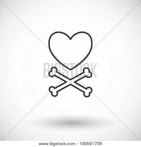 Heart and crossbones vector thin line web icon Outline flat design of love Valentines day or broken heart object with round shadow isolated on the white background