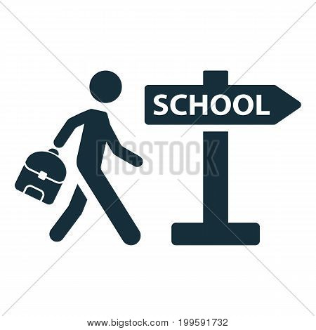 Schoolboy Pupil Going To School Signpost