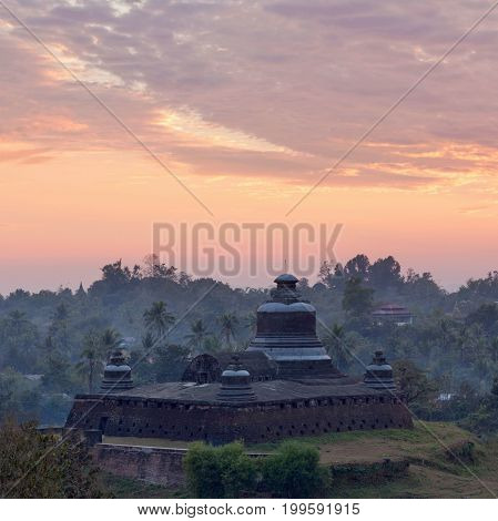 Famous Ancient Htukkanthein Stupa In Mrauk U Archaeological Zone, Myanmar
