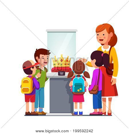 Kids group girls, boys watching kings jeweled golden crown in glass showcase at historical museum excursion. School teen students on field trip together with teacher. Flat style vector illustration.