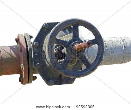 old metal pipe with valve on white background