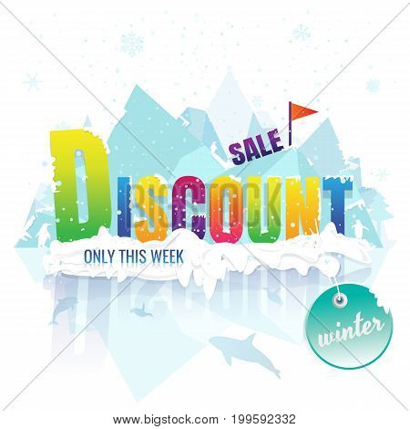 discount sale winter. banner and label. Price reduction. billboards. on white background. vector. illustration. iceberg. snow. snow flake. Penguin. Dolphin. Killer whale