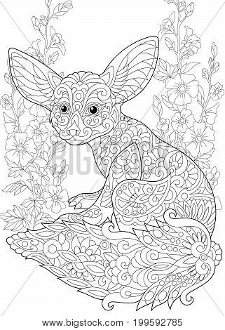 Coloring page. Fennec fox and mallow flowers. Freehand sketch drawing for adult antistress colouring book in zentangle style.