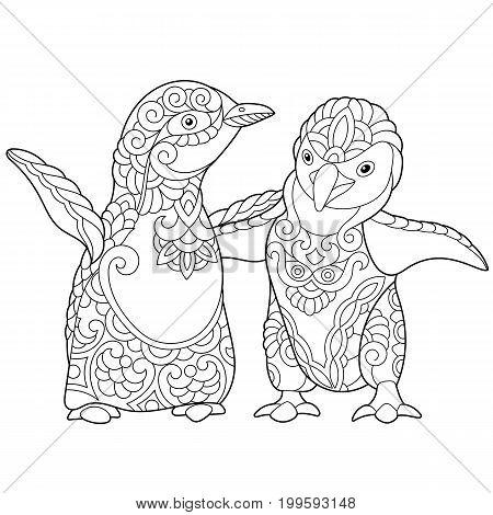 Coloring page of young emperor penguins isolated on white background. Freehand sketch drawing for adult antistress colouring book with doodle and zentangle elements.