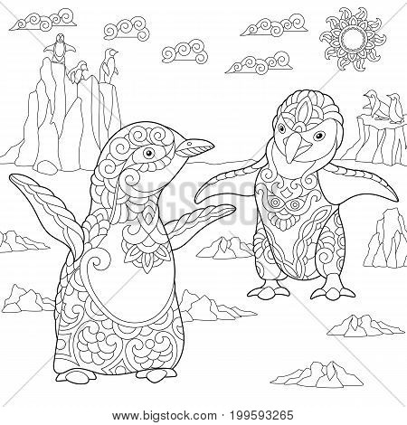 Coloring page of young penguins among arctic landscape. Freehand sketch drawing for adult antistress coloring book in zentangle style.