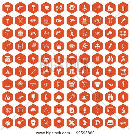 100 tackle icons set in orange hexagon isolated vector illustration