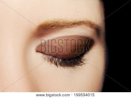 A Closed Eye Of A Young Woman