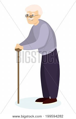 Isolated grandfather with stick on white background.
