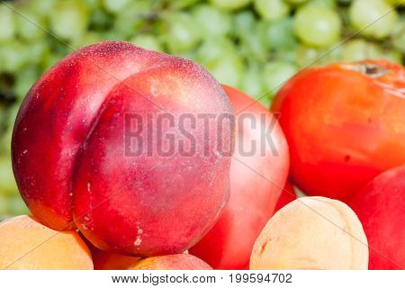 Greengrocery With Fresh Fruits And Vegetables.