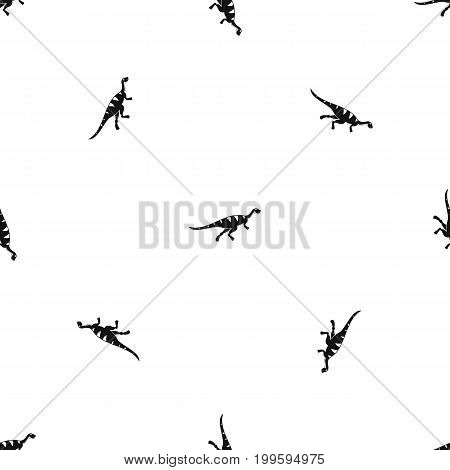 Gallimimus dinosaur pattern repeat seamless in black color for any design. Vector geometric illustration