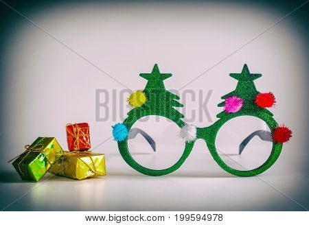 Christmas glasses and Christmas decorations. holiday concept retro style