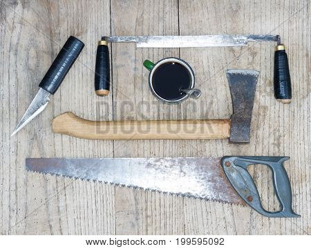 a set of carpenter's tools on wooden table