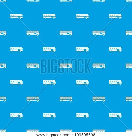 Bus pattern repeat seamless in blue color for any design. Vector geometric illustration