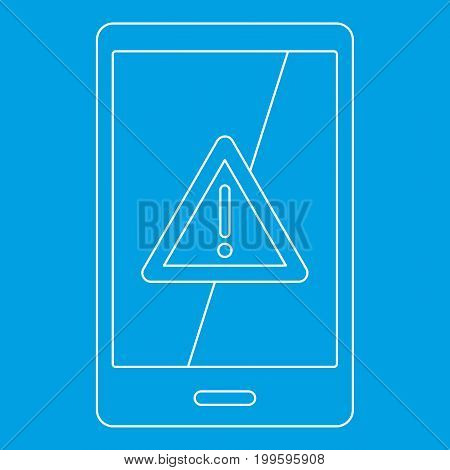 Not working phone icon blue outline style isolated vector illustration. Thin line sign