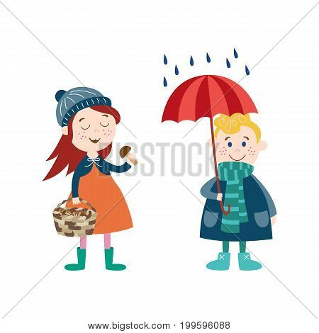 vector boy keeping umbrella under the rain, girl collecting mushroom in basket wearing autumn clothing set, cartoon isolated illustration on a white background Autumn activity kids concept