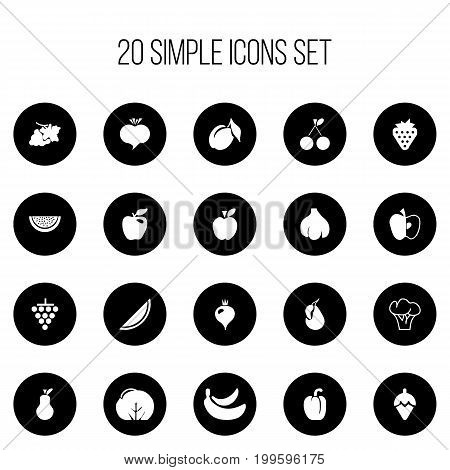 Set Of 20 Editable Fruits Icons. Includes Symbols Such As Jonagold, Apricot, Pear And More