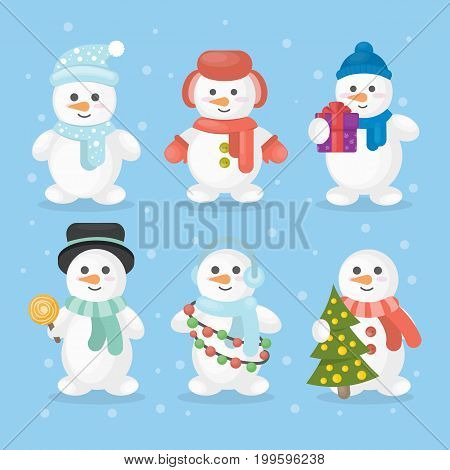Funny snowmen set. Snowmen in different outfits like hat and scarf with christmas tree.