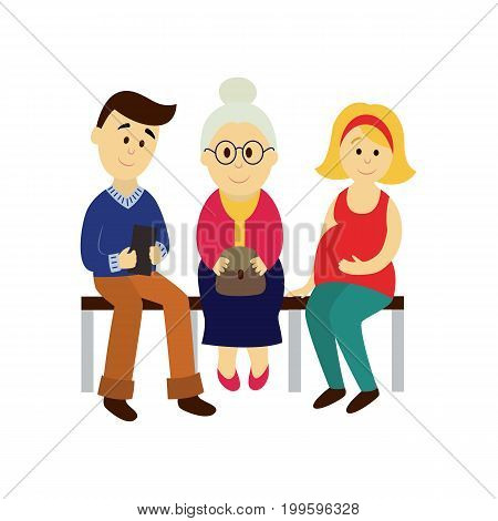 vector adult man, woman , grey-haired grandmother sitting on public transport's bench set. Flat cartoon illustration isolated on a white background. Public transport - subway, bus characters concept