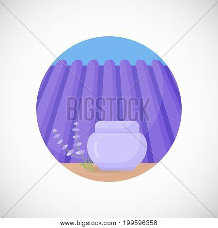 Lavender face cream jar vector flat icon Flat design of aromatic plant beauty product ingredient herb on the lavender field and sky background vector concept illustration with shadows