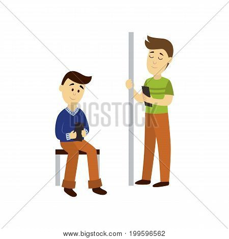 vector adult man reads the book staying on public transport bench and holding the handrail, another man sits reading book background. Bus subway underground transport characters set concept design