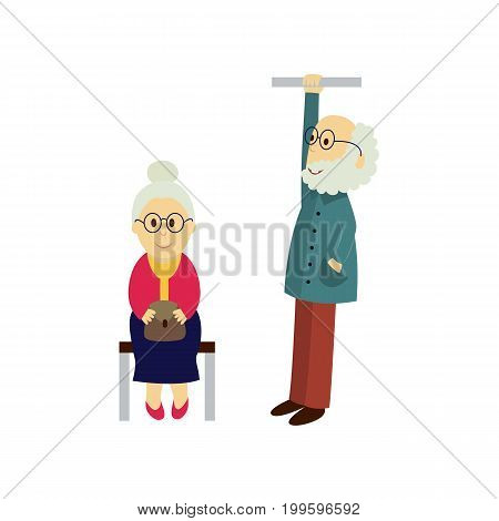 vector old woman sits on a public transport bench keeping purse at knees, old man stays holding handrail. Flat illustration isolated on a white background. Bus, underground , subway characters concept