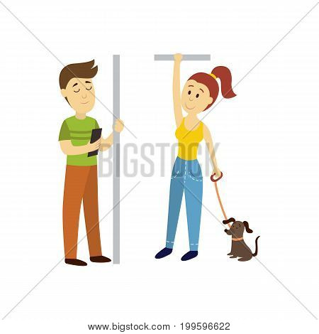 vector adult man woman stays holding handrail, man reads book , woman keeps dog leash set. Flat illustration isolated on a white background. transport bus underground subway characters concept design