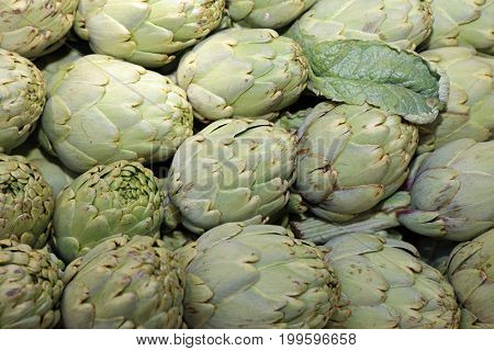 Artichokes on  farmer's market in Madrid. Spain