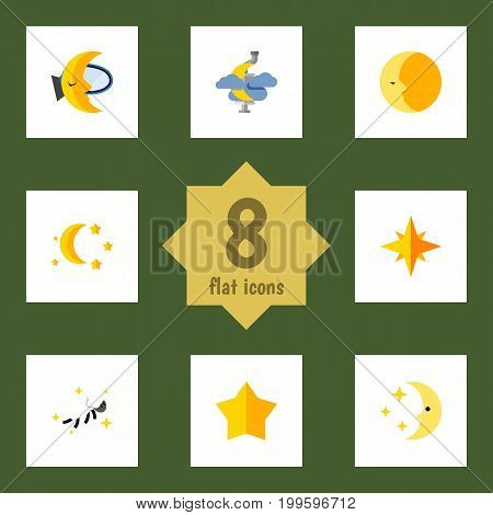 Flat Icon Bedtime Set Of Midnight, Night, Starlet And Other Vector Objects