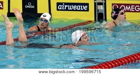 Hong Kong China - Oct 30 2016. Emily SEEBOHM (AUS) SMITH Regan Elisabeth (USA) and HOSSZU Katinka (HUN) after the Women's Backstroke 100m Final. FINA Swimming World Cup Victoria Park Swimming Pool.
