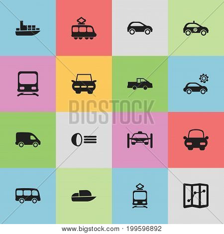 Set Of 16 Editable Shipment Icons. Includes Symbols Such As Automotive, Tour Bus, Hatchback And More