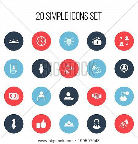 Set Of 20 Editable Business Icons. Includes Symbols Such As Staff Structure, Job Woman, Work Man And More