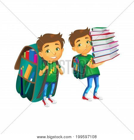 vector cartoon small schoolboy wearing big huge schoolbag full of books smiles, another boy keeping big books pile . Isolated flat illustration on a white background. Back to school concept
