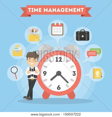 Time management man. idea of strategy, planning and doing.