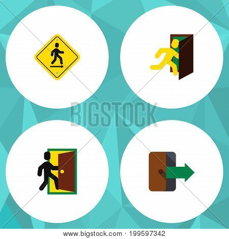 Flat Icon Exit Set Of Directional, Direction Pointer, Open Door And Other Vector Objects