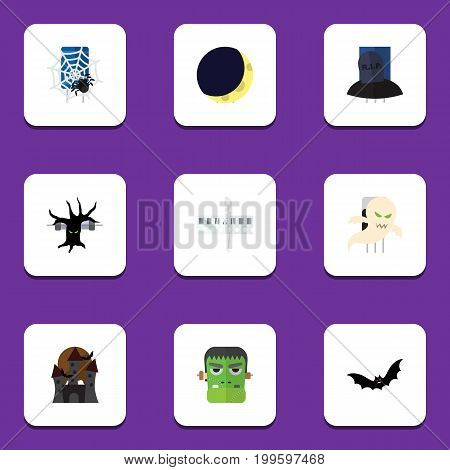 Flat Icon Celebrate Set Of Monster, Crescent, Terrible Halloween And Other Vector Objects