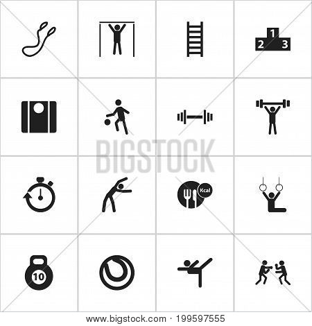 Set Of 16 Editable Lifestyle Icons. Includes Symbols Such As Platform For Winner, Sportsman, Acrobat And More