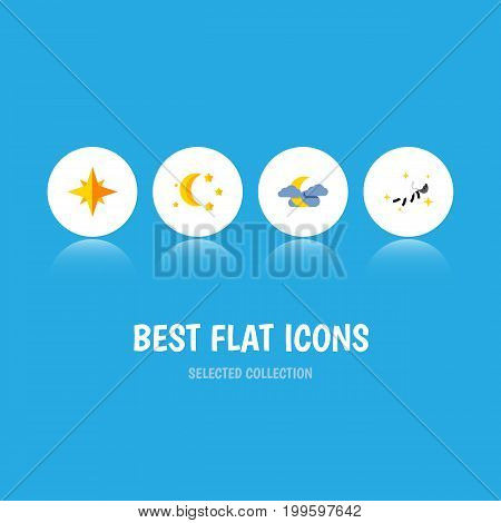 Flat Icon Bedtime Set Of Midnight, Bedtime, Asterisk And Other Vector Objects