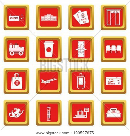 Airport icons set in red color isolated vector illustration for web and any design