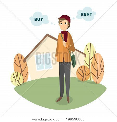 Buy or rent. Handsome confused man decides to buy or to rent the house.