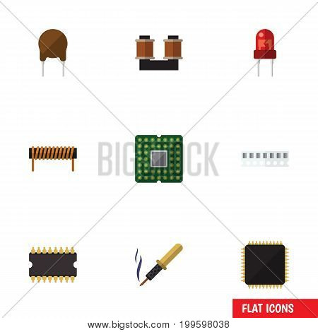 Flat Icon Electronics Set Of Microprocessor, Recipient, Repair And Other Vector Objects