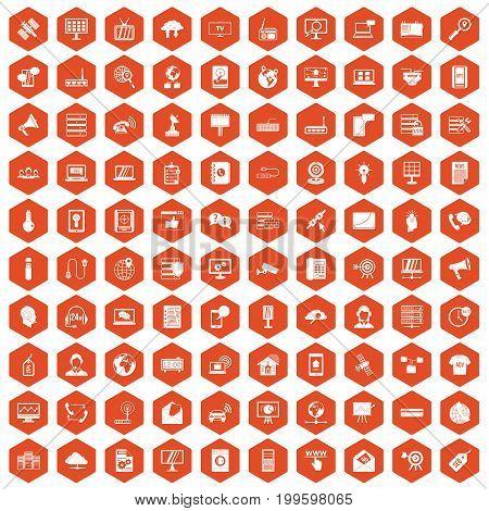 100 telecommunication icons set in orange hexagon isolated vector illustration