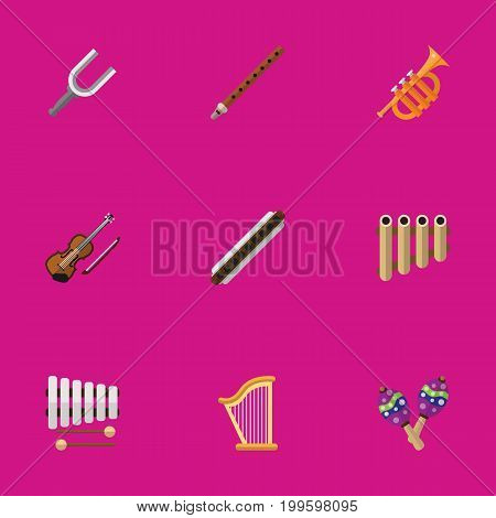 Set Of 9 Editable Audio Flat Icons. Includes Symbols Such As Fiddle, Oboe, Sticks And More