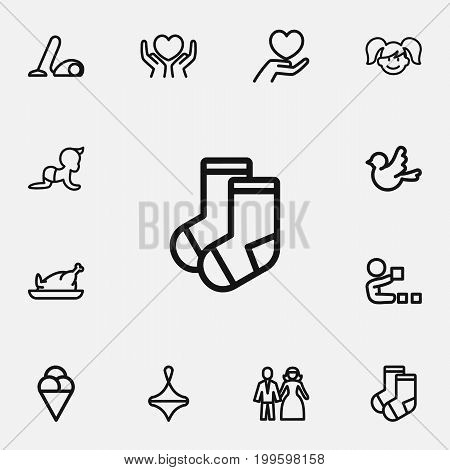 Set Of 12 Editable Family Outline Icons. Includes Symbols Such As Married, Gyroscope, Sorbet And More