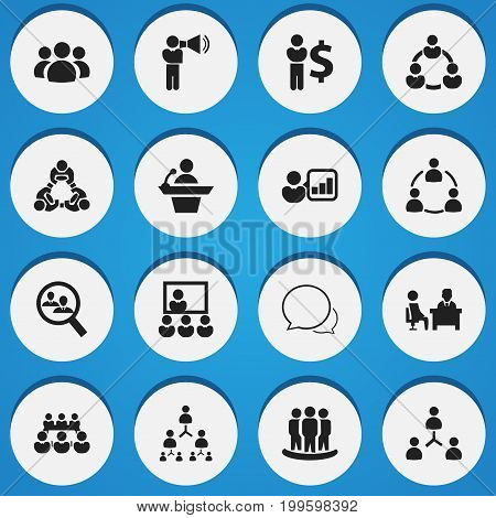 Set Of 16 Editable Team Icons. Includes Symbols Such As Group, Member, Command