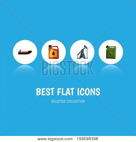 Flat Icon Fuel Set Of Fuel Canister, Rig, Jerrycan And Other Vector Objects