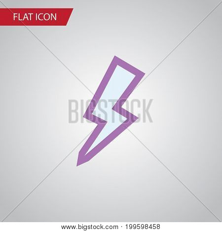 Lightning Vector Element Can Be Used For Lightning, Thunder, Storm Design Concept.  Isolated Thunder Flat Icon.