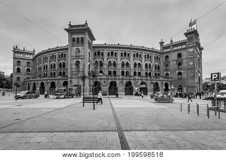 Madrid Spain - May 22 2014: The Las Ventas Bullring in Madrid. It is one of the biggest bullring in the world. Black and white photography.